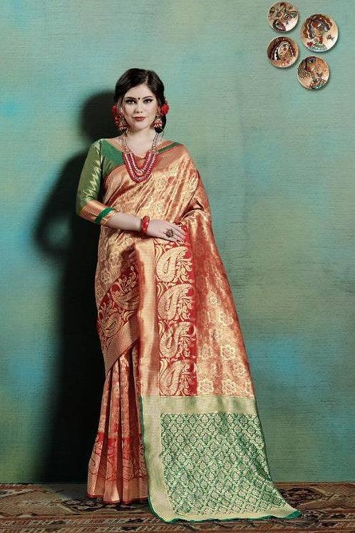 Basic Indian Silk Saree (Saffron, Green)