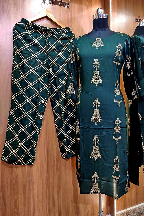 Basic Indian Cotton pant set (Ghazi-Green)