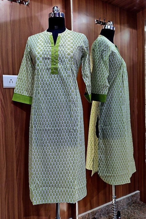 Basic Indian Cotton Kurti (Simple-Green)