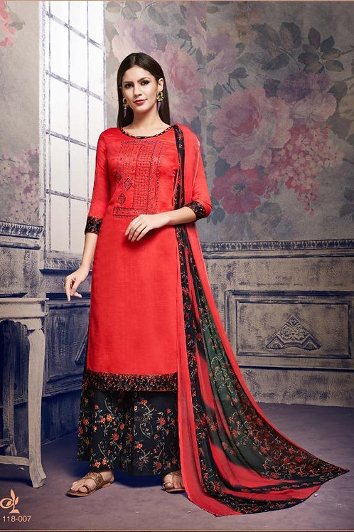 Basic Indian Fabric (Plazzo/Suit) -Red, Black