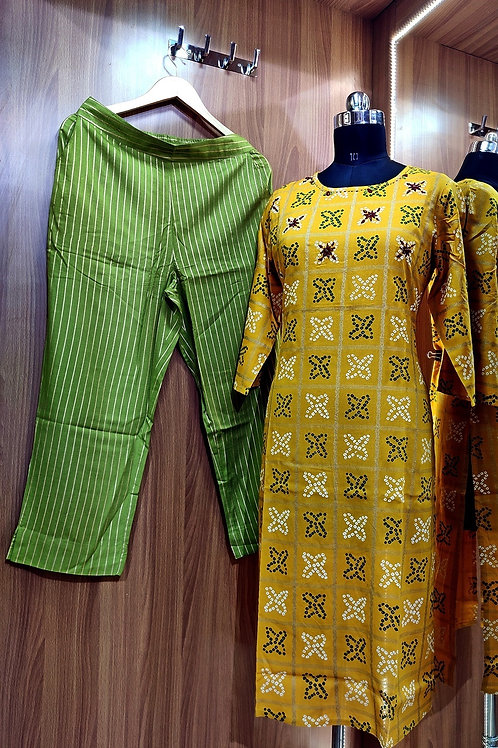 Basic Indian Cotton pant set (Yellow-Green)