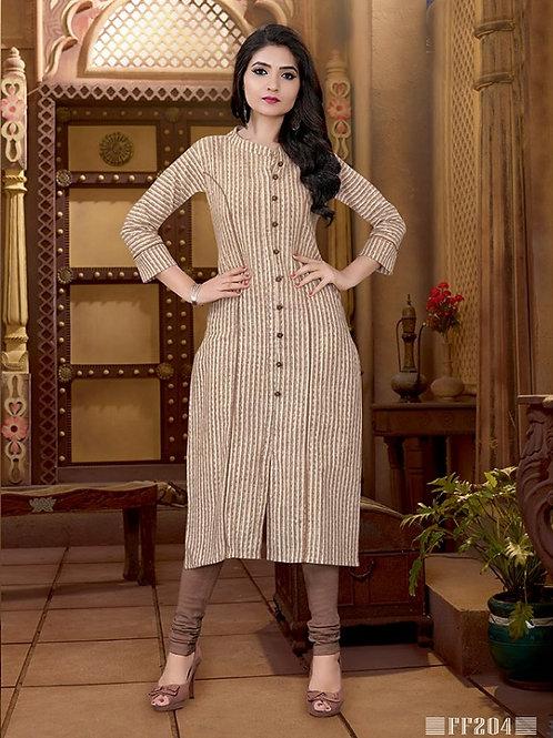 Basic Indian Cotton Kurti (Off White, Sandy Brown)