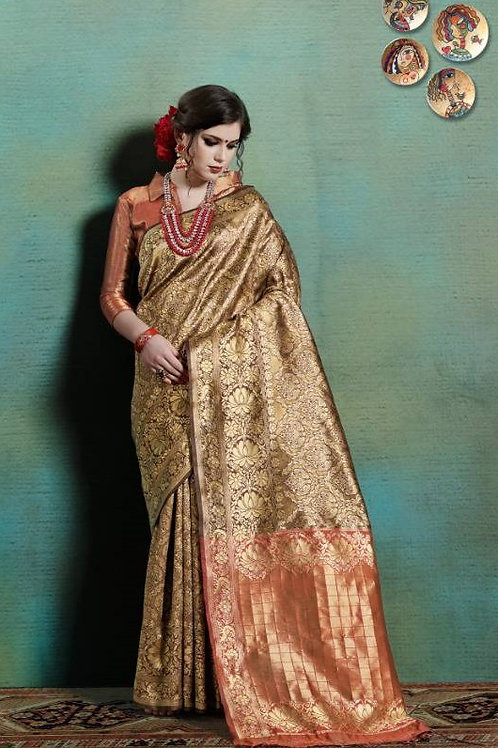Basic Indian Silk Saree (Golden, brown, Saffron)