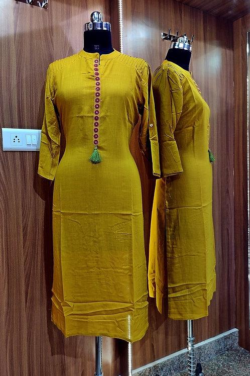 Basic Indian Cotton Kurti (Ethnic-Yellow)