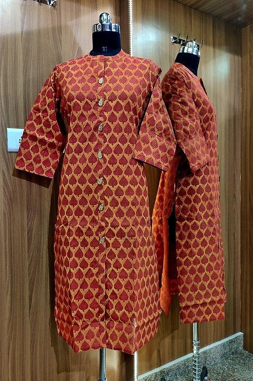 Basic Indian Cotton Kurti (Mehndi-Pattern)