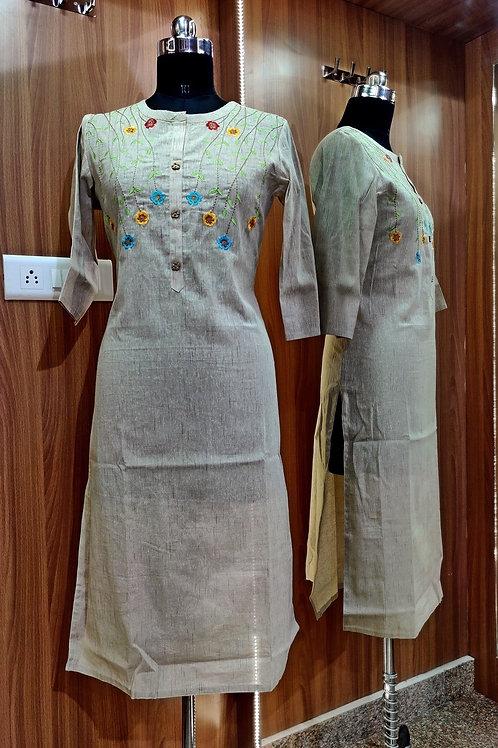 Basic Indian Khadi Cotton Kurti (Off-White)