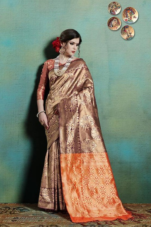 Basic Indian Silk Saree (Brown Maroon, Golden)