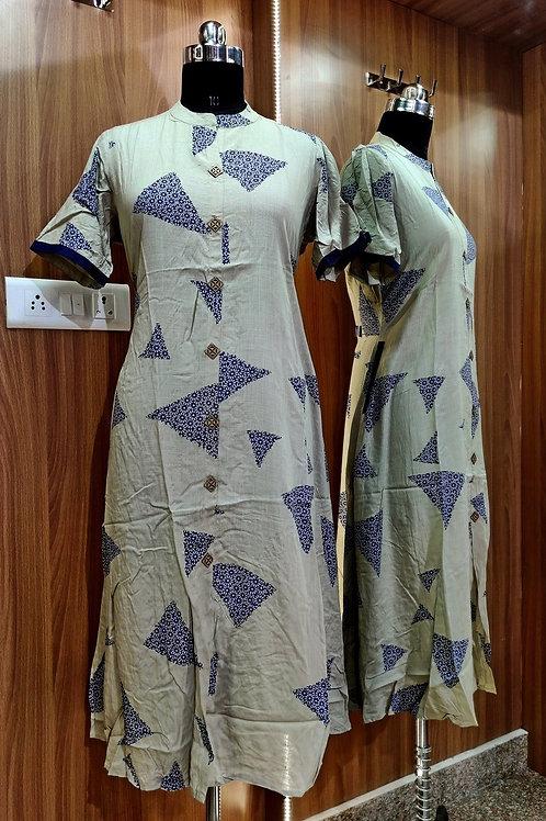 Basic Indian Cotton A-Line Kurti (Long)