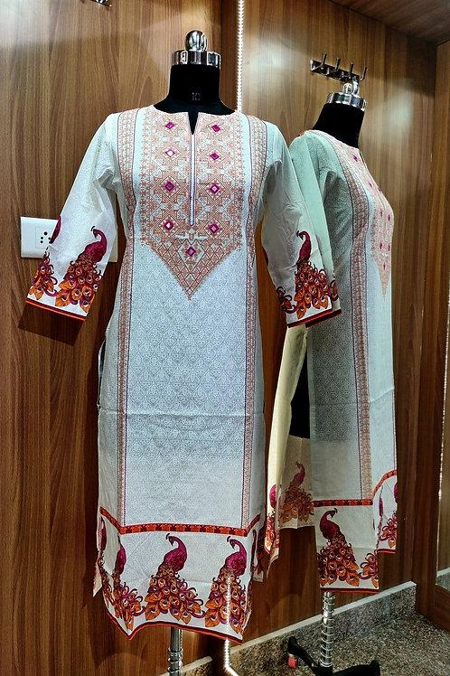 Basic Indian Cotton Straight Kurti (print pattern)