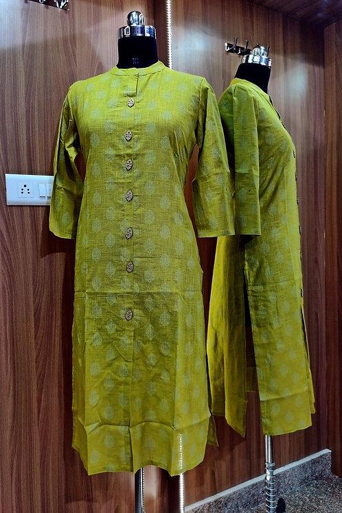 Basic Indian Cotton Kurti (Parrot-Green)