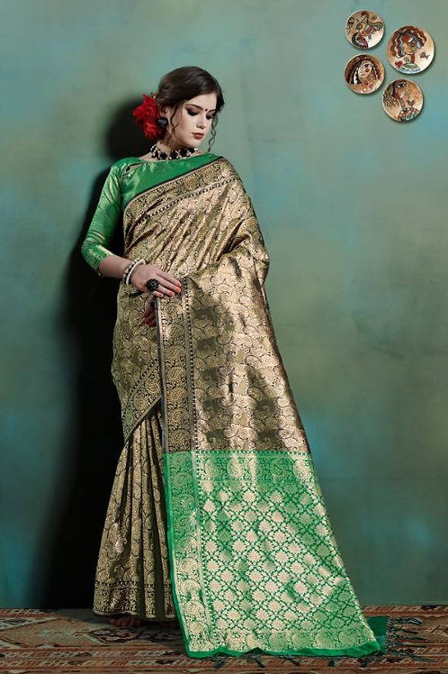 Basic Indian Silk Saree (Golden, Black, Green)