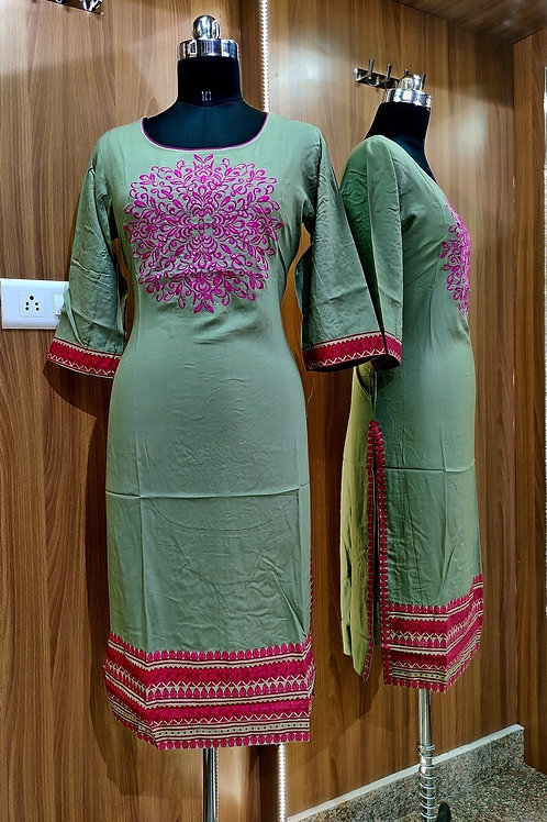 Basic Indian Soft Cotton Kurti (Olive-Green)