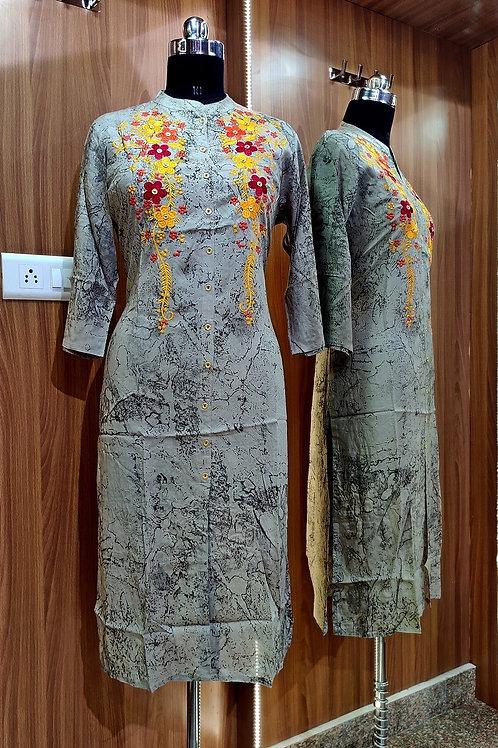 Basic Indian Cotton A-Line Kurti (Light Grey)