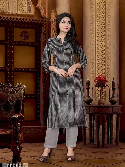 Basic Indian Cotton Kurti (Light Grey, Magenta)