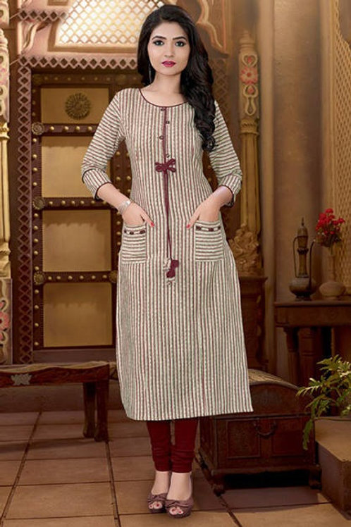 Basic Indian Cotton Kurti (Fade Multicolor, Brown)