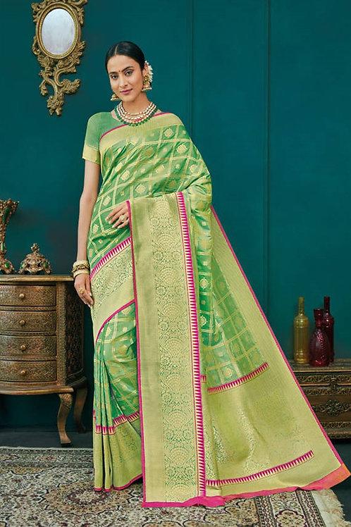 Basic Indian Premium Silk Saree (Green, Golden, Pink)