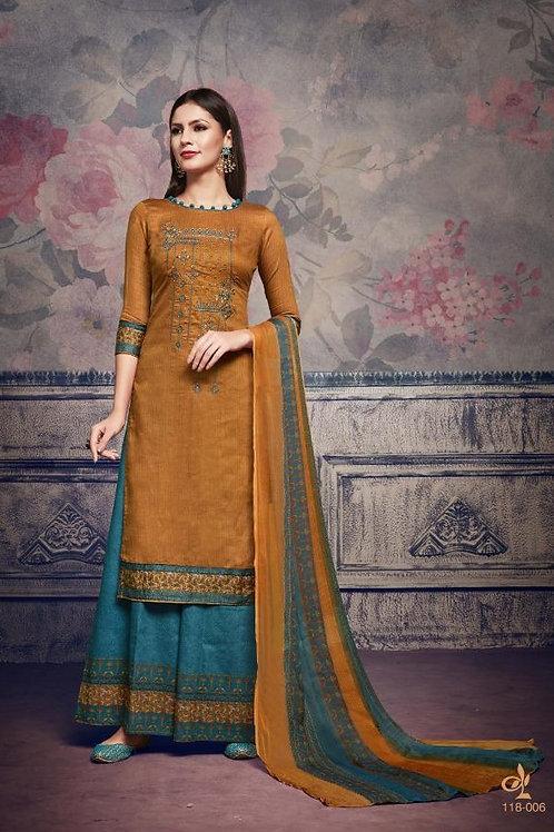 Basic Indian Fabric (Plazzo/Suit) -Sand Yellow, Cyan
