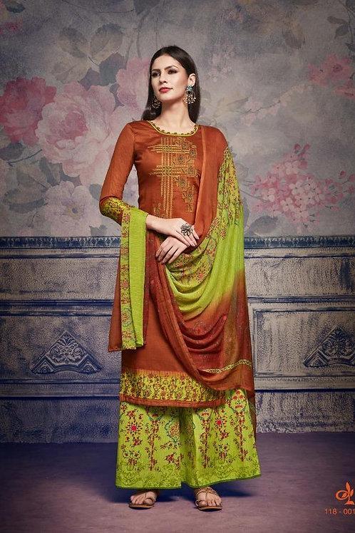 Basic Indian Fabric (Plazzo/Suit) -Orange, Green