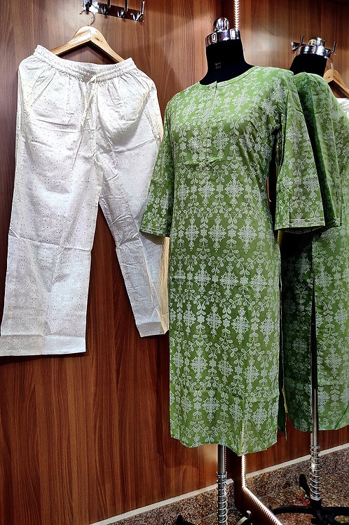 Basic Indian Cotton pant set (Green-White)