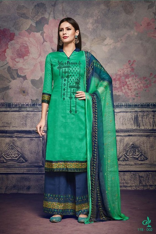 Basic Indian Fabric (Plazzo/Suit) -Green, Blue