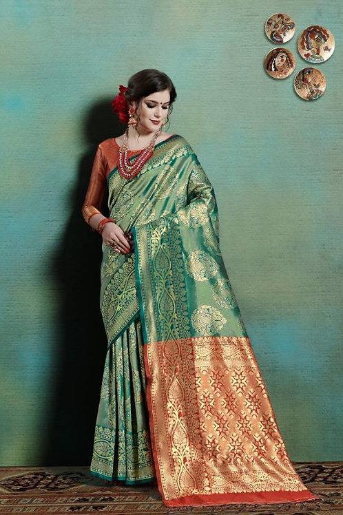 Basic Indian Silk Saree (Green, Golden)