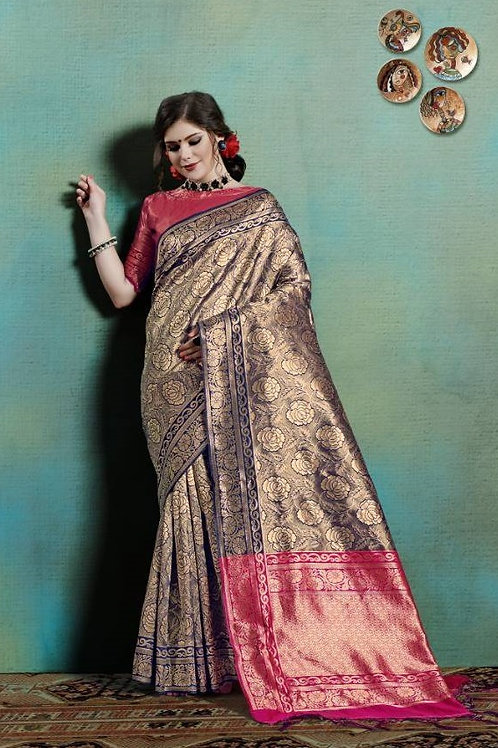 Basic Indian Silk Saree (Golden, Blue, Pink)