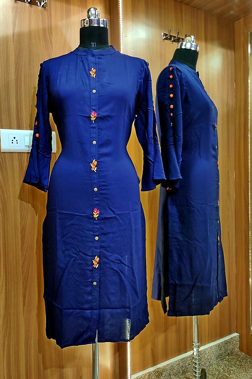 Basic Indian Soft Cotton Kurti (Blue)