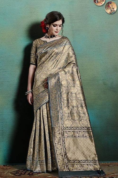 Basic Indian Silk Saree (Golden, Blue)