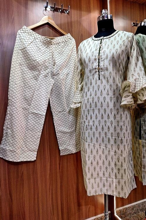 Basic Indian Cotton pant set (Off-White)