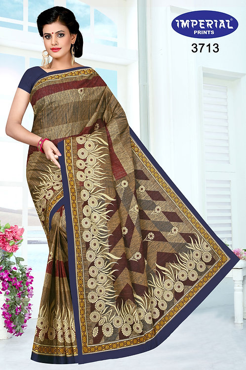 Basic Indian Linen Cotton Saree-1