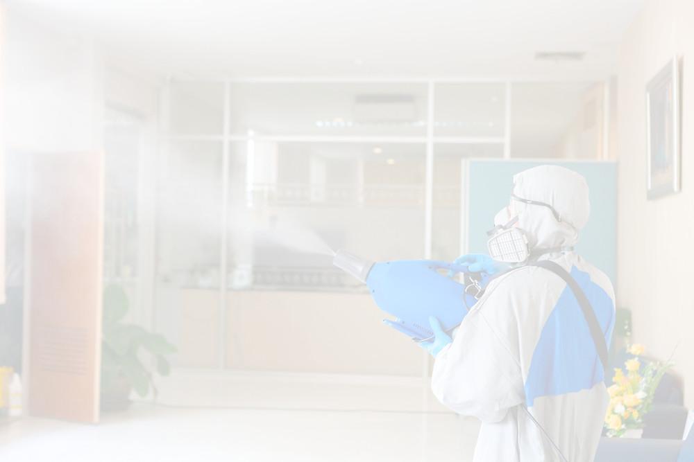 man disinfectant fogging
