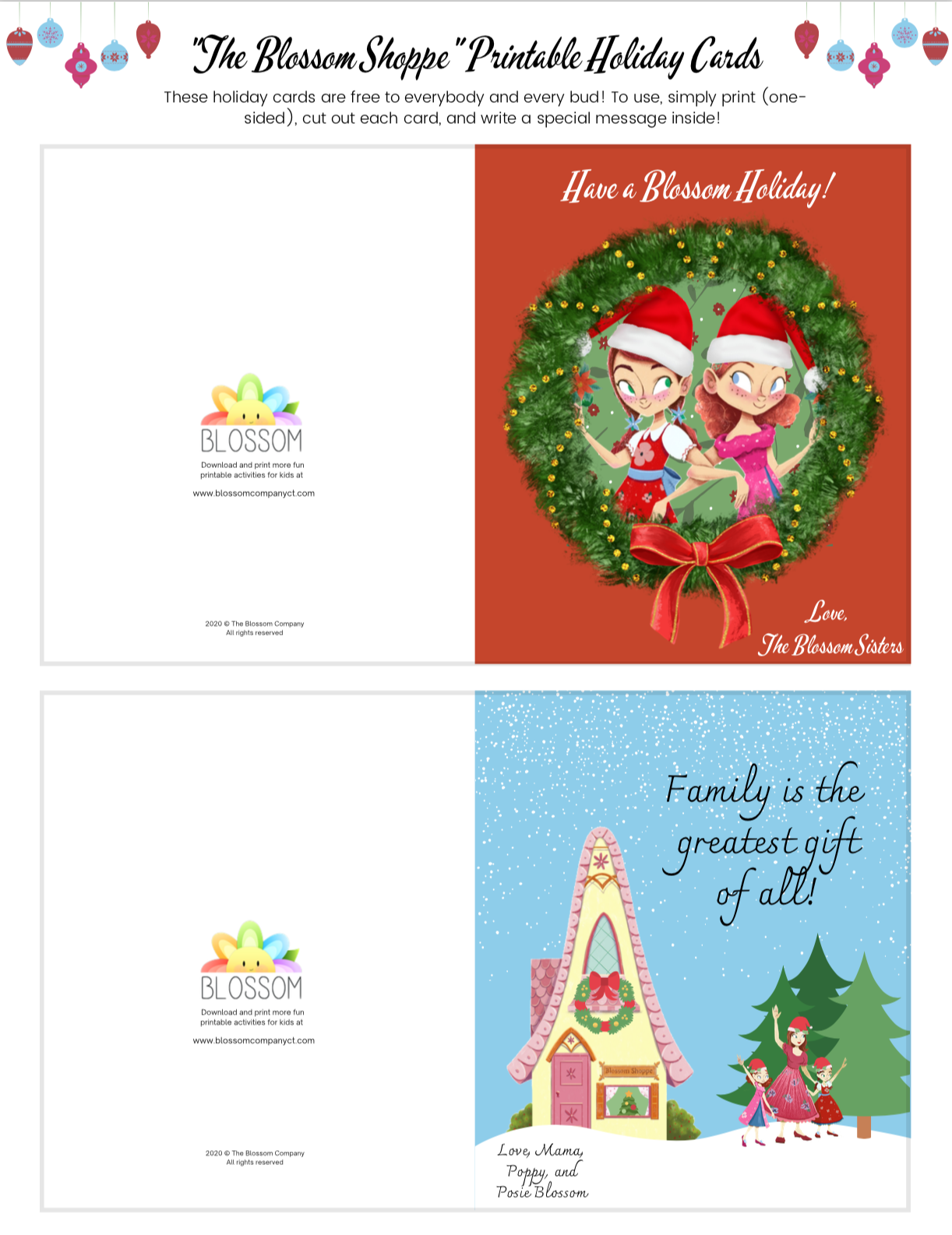 The Blossom Shoppe Printable Holiday Cards