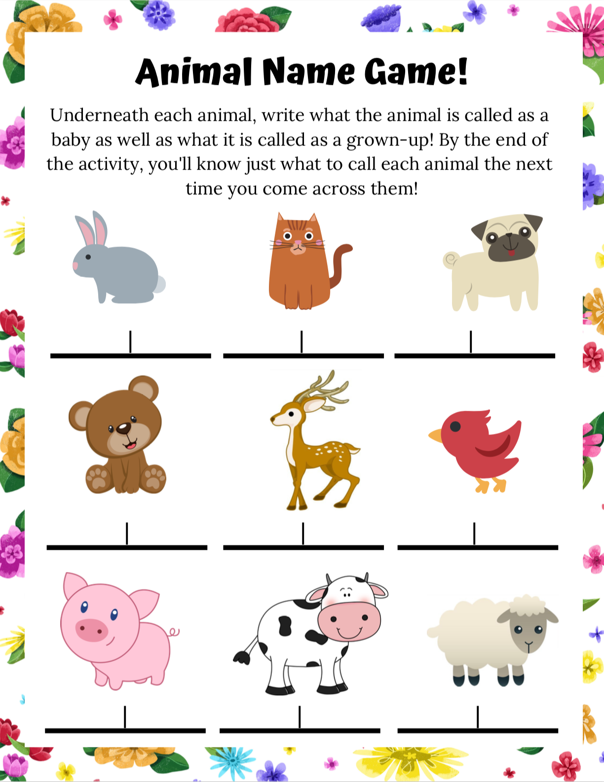Poppy & Posie's Animal Name Game - The Blossom Shoppe