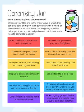 Blossom's Generosity Jar Activity