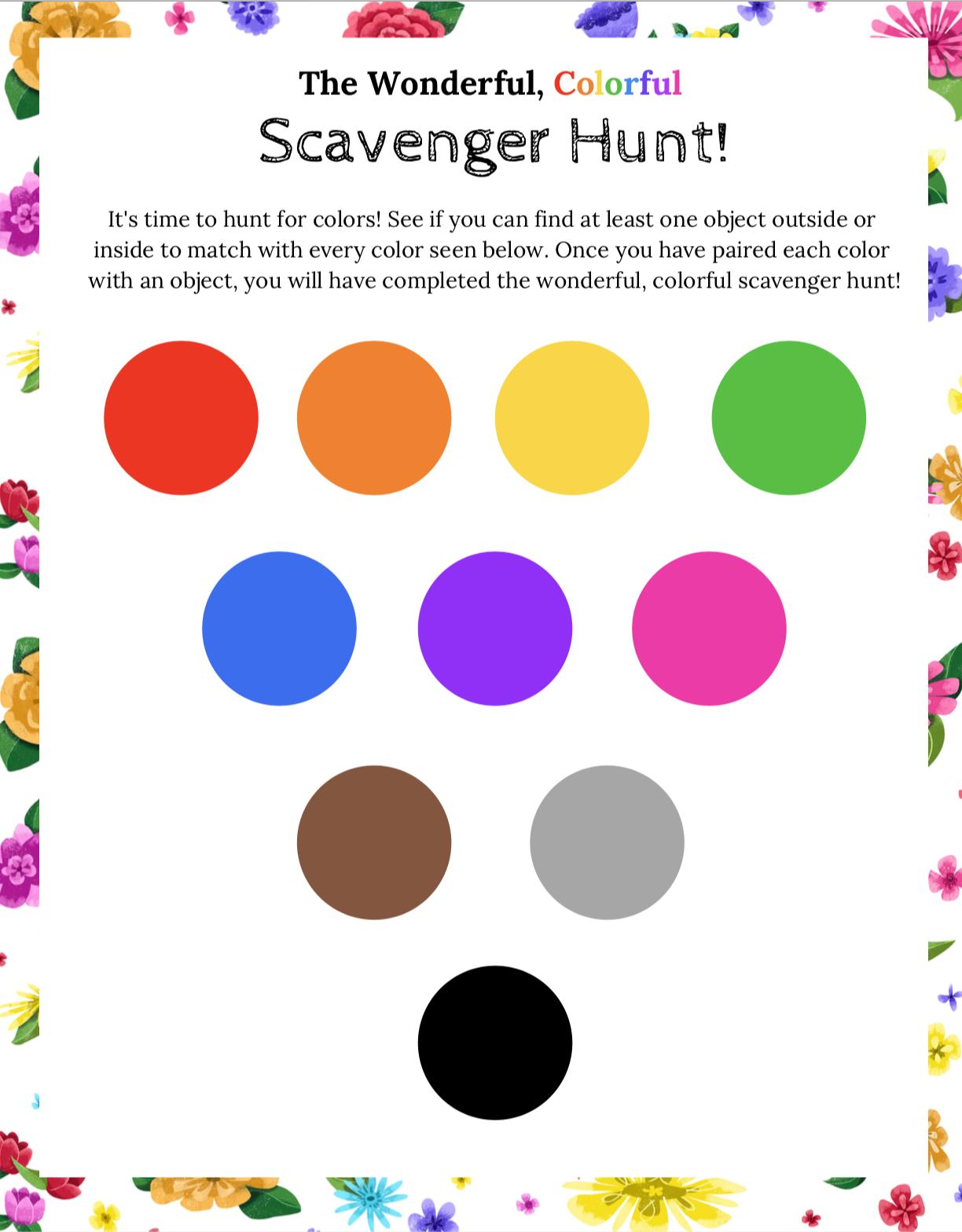 The Wonderful, Color Scavenger Hunt - The Blossom Shoppe
