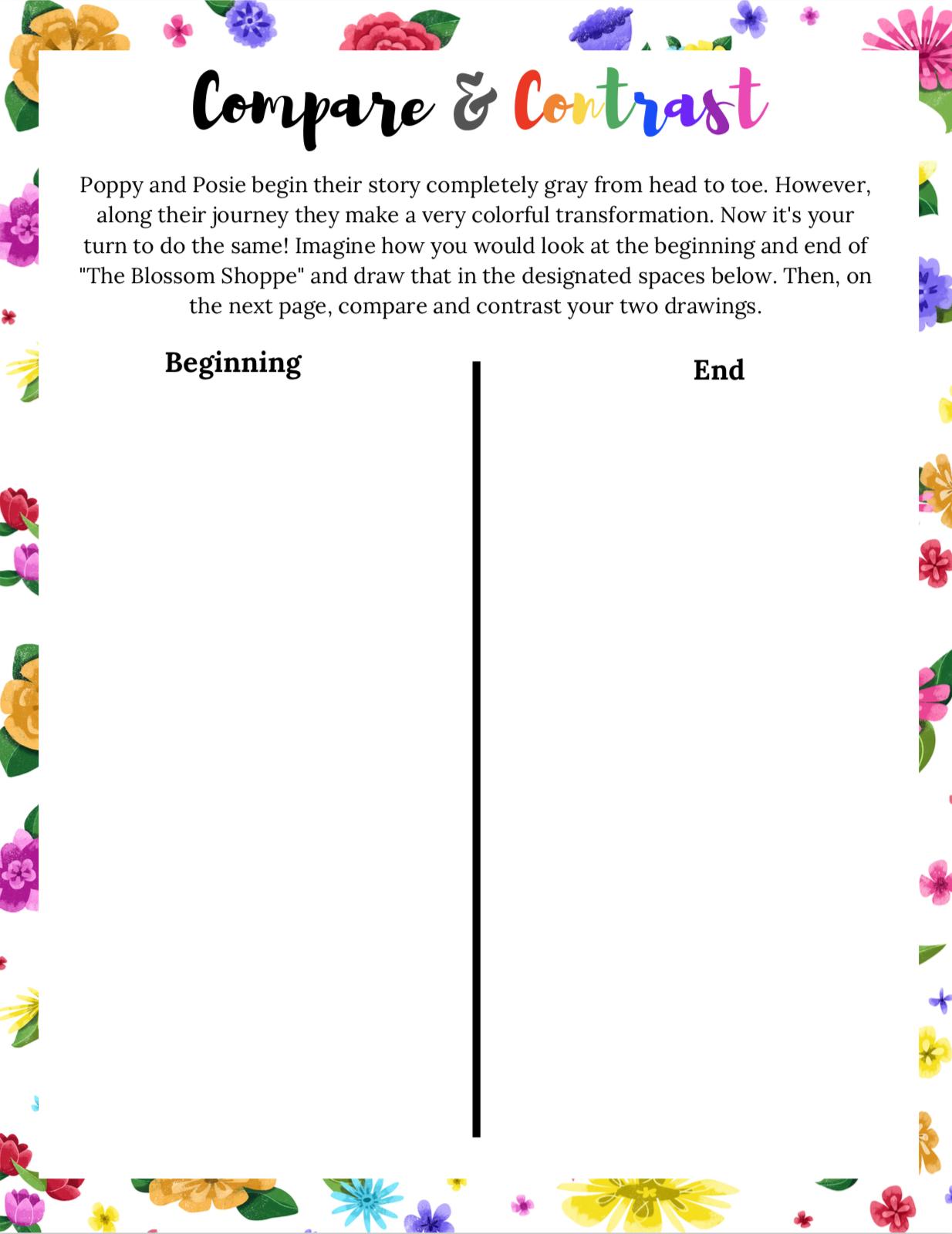 Poppy & Posie's Compare & Contrast Printable Activity - The Blossom Shoppe