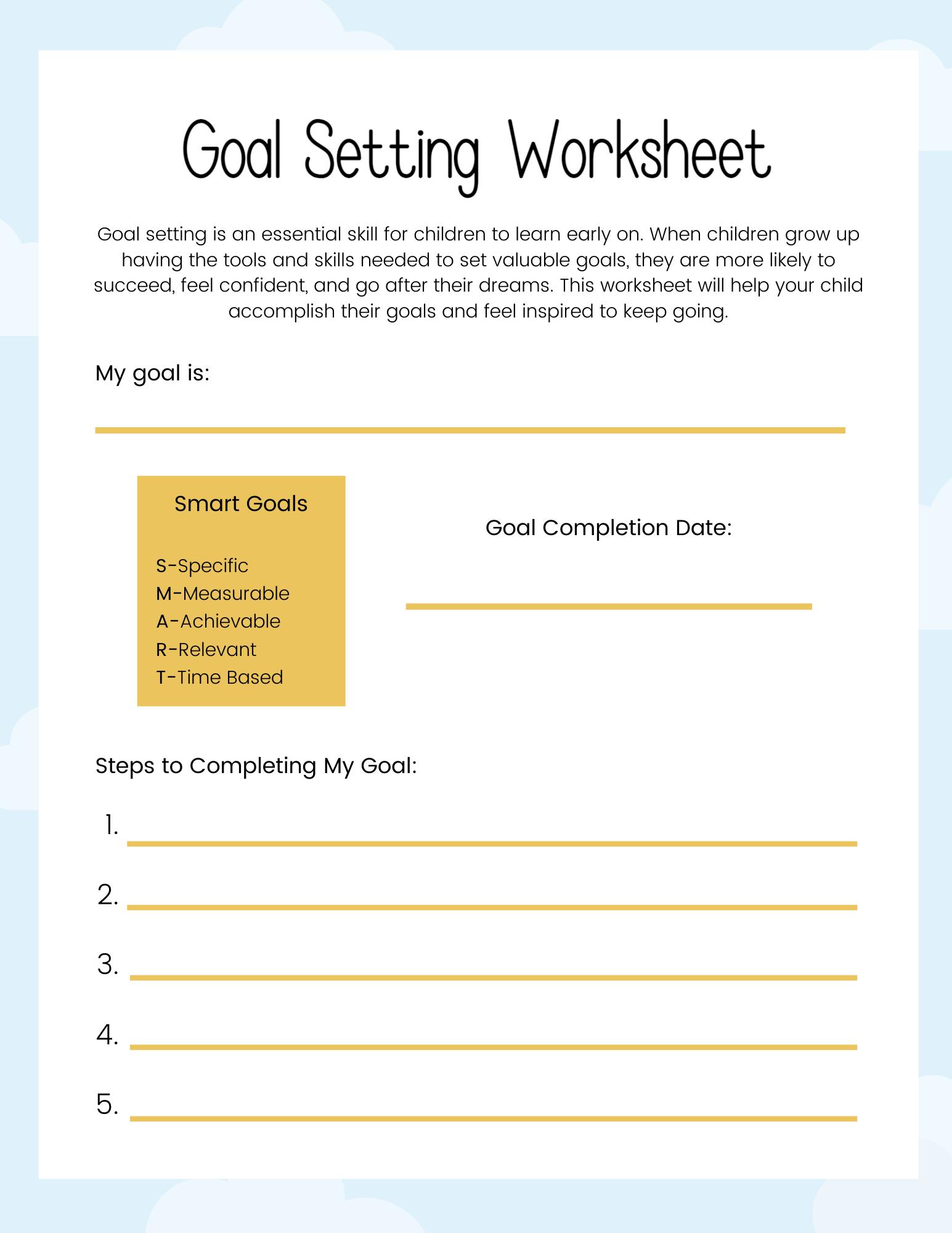 Blossom's Goal-Setting Worksheet