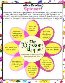 """""""The Blossom Shoppe"""" After Reading Spinner Printable Activity"""