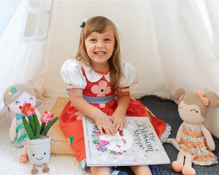 """Jolene with her """"The Blossom Shoppe"""" book & costume bundle!"""