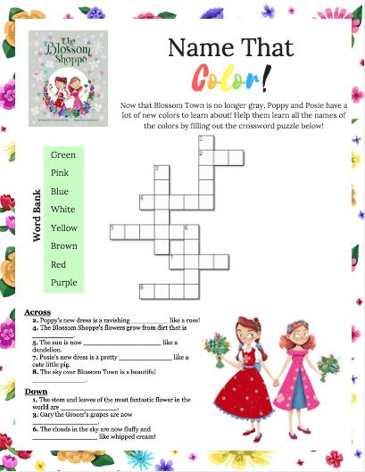 Poppy & Posie's Color Crossword Printable Activity - The Blossom Shoppe