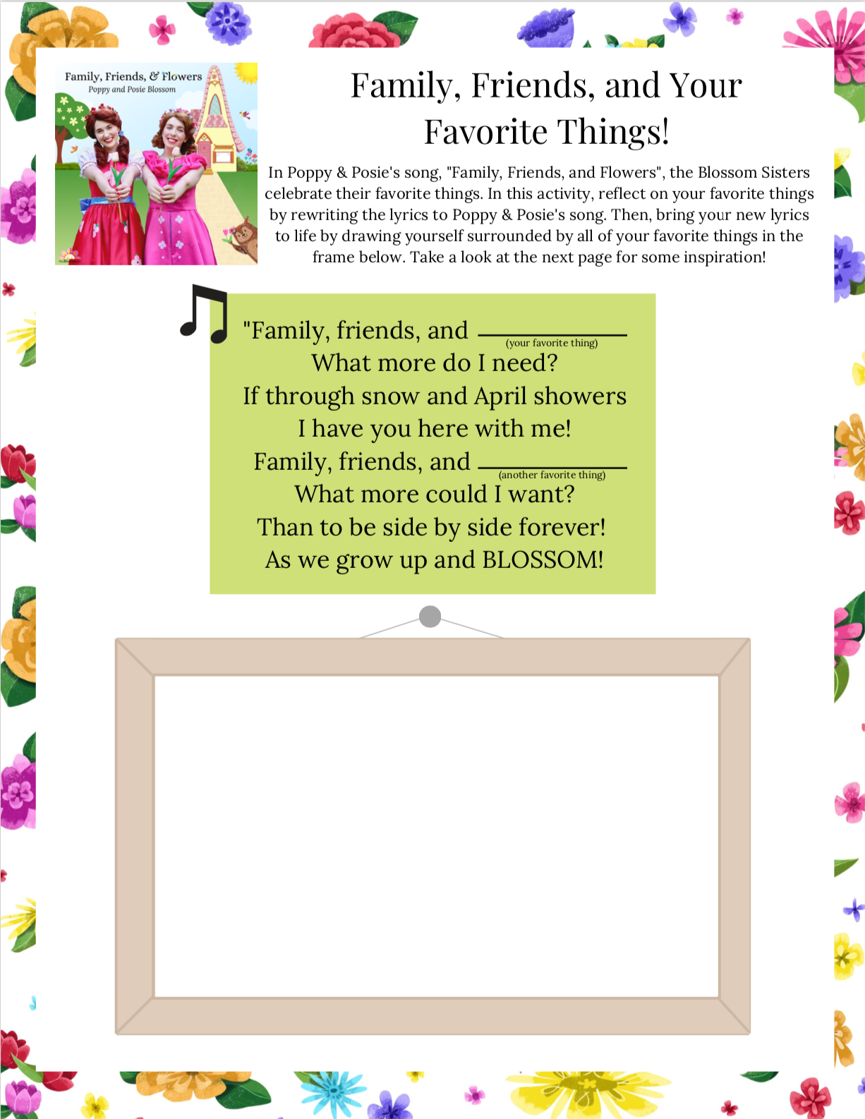 Poppy & Posie's Songwriting Activity - The Blossom Shoppe