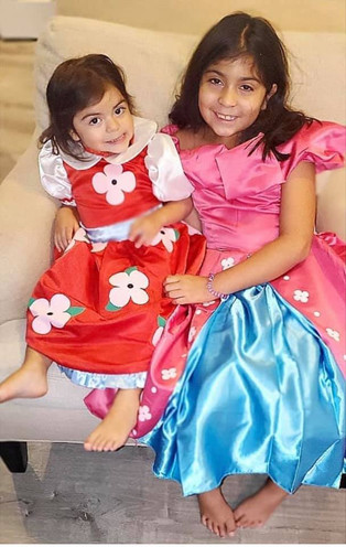 Sisters, Yael & Luna, dress up as the Blossom Sisters!