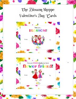 """The Blossom Shoppe"" Printable Valentine's Day Cards"