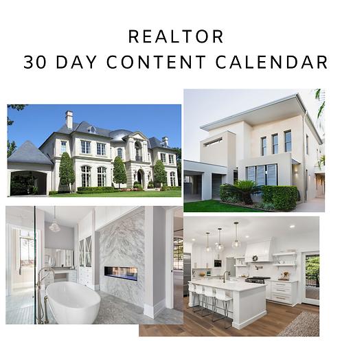 Realtor 30 Day Content Calendar