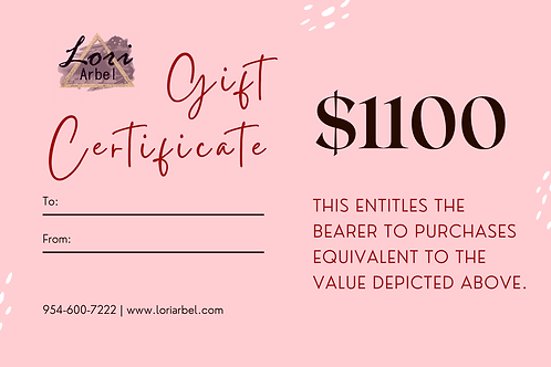 $1100 Gift Certificate