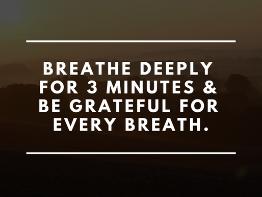 Breathe deeply for 3 minutes & be grateful for every breath.
