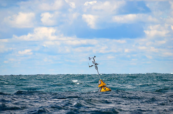 floating weather station buoy on Lake Mi