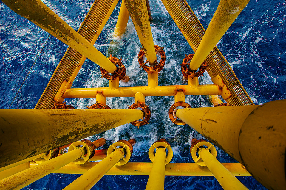 Offshore drill yellow oil and gas wave s