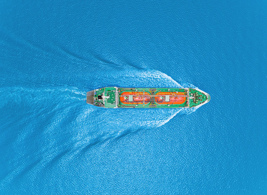 Aerial top view Oil ship tanker or LPG t