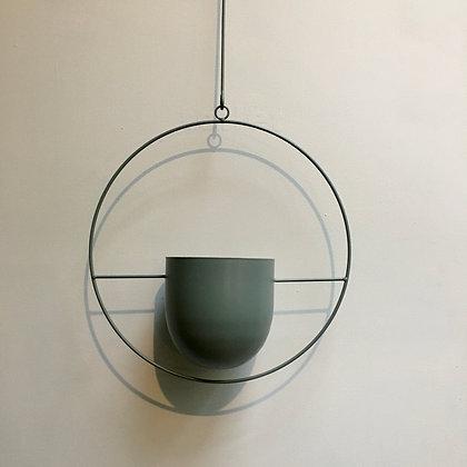 Hang Pot Green Metal D16